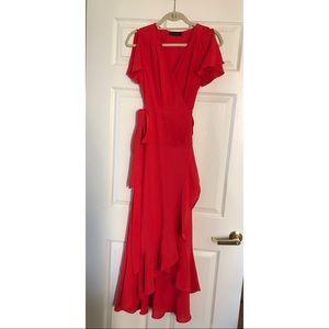 Abbeline Red wrap dress